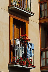 Colourful balcony in a house in Vitoria Gasteiz, Spain<br /> <br /> (c) Andrew Wilson | Edinburgh Elite media
