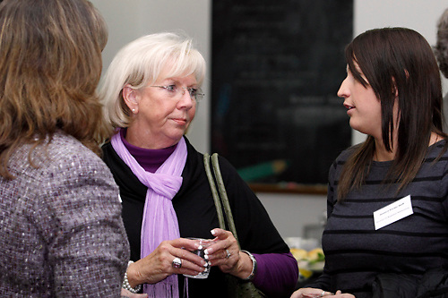 (from left) Melissa Cutcher of the Better Business Bureau, Jeanne Porter of Women In Business Networking and Jessica Porter Huff of Women In Business Networking during a BBB networking event at Crayons to Classrooms in Dayton, Tuesday, February 28, 2012.