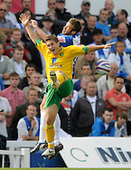 Hartlepool - Saturday August 29th, 2009: Andy Monkhouse of Hartlepool (R) and Paul McVeigh of Norwich City during the Coca Cola League One match at Victoria Park, Hartlepool. (Pic by Jed Wee/Focus Images)..