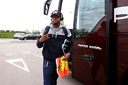 Panos Mayindombe of Bristol Flyers arrives at Cheshire Phoenix - Photo mandatory by-line: Robbie Stephenson/JMP - 31/03/2019 - BASKETBALL - Cheshire Oaks Arena - Ellesmere Port, England - Cheshire Phoenix v Bristol Flyers - British Basketball League Championship