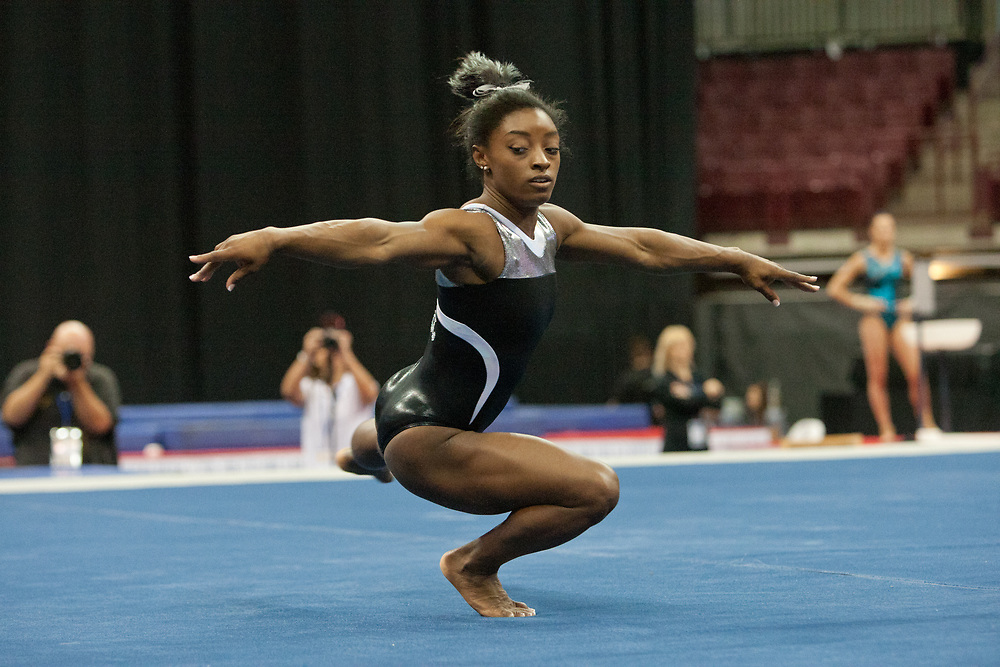 USA Gymnastics GK Classic - Schottenstein Center, Columbus, OH - July 28th, 2018.  Simone Biles competes on the floor  at the Schottenstein Center in Columbus, OH; in the USA Gymnastics GK Classic in the senior division. Simone Biles won the allround with Riley McCusker second and Morgan Hurd third. - Photo by Wally Nell/ZUMA Press