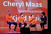 Teampresentatie Pyeong Chang 2018 op Papendal, Arnhem.<br /> <br /> Op de foto: Jeroen Kampschreur, Cheryl Maas en Kjeld Nuis