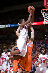 Maryland forward Landon Milbourne (1) shoots over Virginia forward/center Ryan Pettinella (34).  The Maryland Terrapins defeated the Virginia Cavaliers men's basketball team 85-75 at the Comcast Arena in College Park, MD on January 30, 2008.
