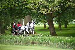 © Licensed to London News Pictures. 12/05/2018. Windsor, UK. Competitors in the Carriage driving event at day 4 of the 75th Royal Windsor Horse Show . The five day event takes place in the grounds of Windsor Castle. Photo credit: Ben Cawthra/LNP