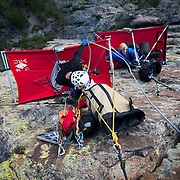 Getting ready for a night on the ledge, cliff camping on a portaledge in Estes Park, CO