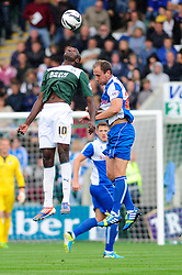 Bristol Rovers' Mark McChrystal and Plymouth Argyle's Marvin Morgan jump for the header  - Photo mandatory by-line: Dougie Allward/JMP - Tel: Mobile: 07966 386802 07/09/2013 - SPORT - FOOTBALL -  Home Park - Plymouth - Plymouth Argyle V Bristol Rovers - Sky Bet League Two