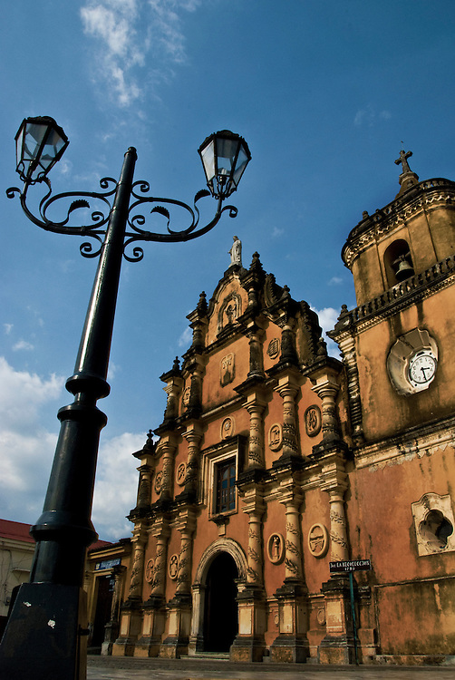 The facade of a 300+ year old church in Leon, Nicaragua.