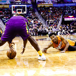 Feb 6, 2017; New Orleans, LA, USA; Phoenix Suns forward P.J. Tucker (17) loses the ball and it is picked up by New Orleans Pelicans forward Solomon Hill (44) during the second half of a game at the Smoothie King Center. The Pelicans defeated the Suns 111-106. Mandatory Credit: Derick E. Hingle-USA TODAY Sports