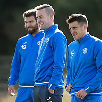 St Johnstone Training….30.09.16<br />Streven MacLean pictured during training this morning with Richie Foster and Michael Coulsoin<br />Picture by Graeme Hart.<br />Copyright Perthshire Picture Agency<br />Tel: 01738 623350  Mobile: 07990 594431