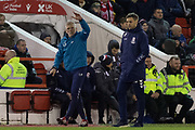 Sabri Lamouchi & Jonathan Woodgate during the EFL Sky Bet Championship match between Nottingham Forest and Middlesbrough at the City Ground, Nottingham, England on 10 December 2019.