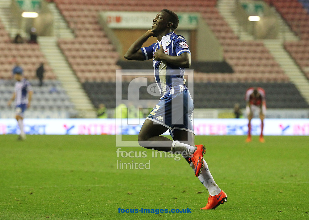 Francisco Junior of Wigan Athletic celebrates after scoring the winning goal against Swindon Town very late into injury time, during the Sky Bet League 1 match at the DW Stadium, Wigan.<br /> Picture by Michael Sedgwick/Focus Images Ltd +44 7900 363072<br /> 31/10/2015