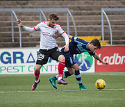 Forfar's Jamie Bain holds off Clyde's David Goodwillie during Forfar's 3-0 win over Clyde in SPFL League Two  at Station Park, Forfar, Photo: David Young<br /> <br />  - &copy; David Young - www.davidyoungphoto.co.uk - email: davidyoungphoto@gmail.com