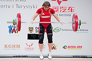 Marina Sisoeva from Uzbekistan lifts in Snatch competition women's 53 kg Group B during weightlifting IWF World Championships Wroclaw 2013 at Centennial Hall in Wroclaw on October 21, 2013.<br /> <br /> Poland, Wroclaw, October 21, 2013<br /> <br /> Picture also available in RAW (NEF) or TIFF format on special request.<br /> <br /> For editorial use only. Any commercial or promotional use requires permission.<br /> <br /> Mandatory credit:<br /> Photo by &copy; Adam Nurkiewicz / Mediasport