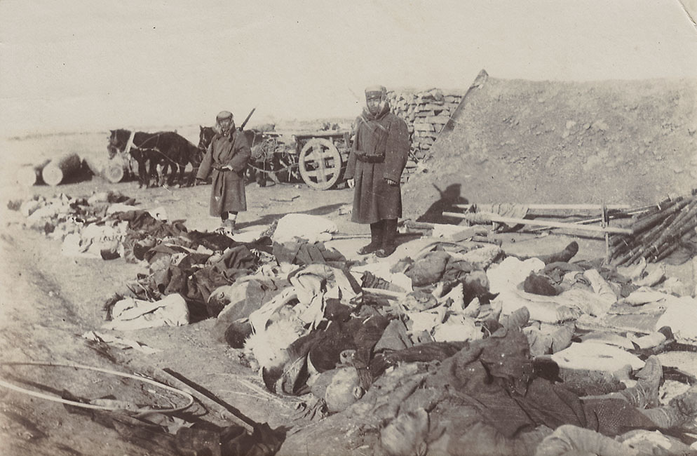 Japanese soldier with bodies of the defeated army, Liaoning Province, China. Russo-Japan War 1905.<br /> <br /> Mitsumura Shashin-han photo unit.<br /> <br /> Matte collodion printing-out-paper print (POP).<br /> Size: approx. 5 1/2 in. x 3 3/4 in. (140 mm x 95 mm).<br /> <br /> <br /> <br /> <br /> <br /> <br /> <br /> <br /> <br /> <br /> <br /> <br /> <br /> <br /> <br /> <br /> <br /> <br /> <br /> <br /> <br /> <br /> <br /> <br /> <br /> <br /> <br /> <br /> <br /> <br /> <br /> <br /> <br /> <br /> <br /> <br /> <br /> <br /> <br /> <br /> <br /> <br /> <br /> <br /> <br /> <br /> <br /> <br /> <br /> <br /> <br /> <br /> <br /> <br /> <br /> <br /> <br /> <br /> <br /> <br /> <br /> <br /> <br /> .