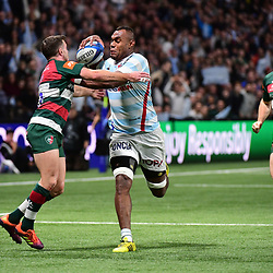 (R-L) Leone Nakarawa of Racing 92 takes on George Ford of Leicester during the European Rugby Champions Cup match between Racing 92 and Leicester Tigers at Paris La Defence Arena on December 9, 2018 in Nanterre, France. (Photo by Dave Winter/Icon Sport) - George FORD - Leone NAKARAWA - Paris (France)