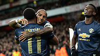 Football - 2018 / 2019 FA Cup - Fourth Round: Arsenal vs. Manchester United <br /> <br /> Ashley Young (Manchester United) congratulates goalscorer Anthony Martial (Manchester United) at The Emirates Stadium.<br /> <br /> COLORSPORT/DANIEL BEARHAM