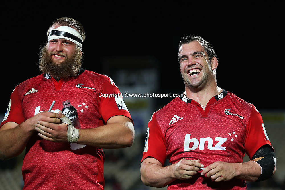 Corey Flynn of the Crusaders with Joe Moody following the Investec Super Rugby game between Crusaders v Highlanders at AMI Stadium, Christchurch. 12 July 2014 Photo: Joseph Johnson/www.photosport.co.nz