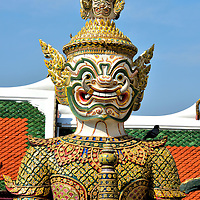 Yaksha Giant Close Up at Grand Palace in Bangkok, Thailand<br />