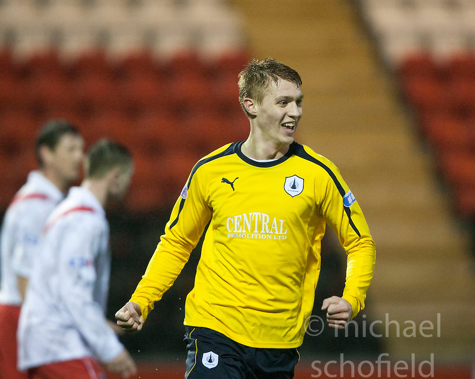 Falkirk's Jay Fulton cele scoring their first goal..half time : Airdrie United 1 v 4 Falkirk, 22/12/2012..©Michael Schofield.
