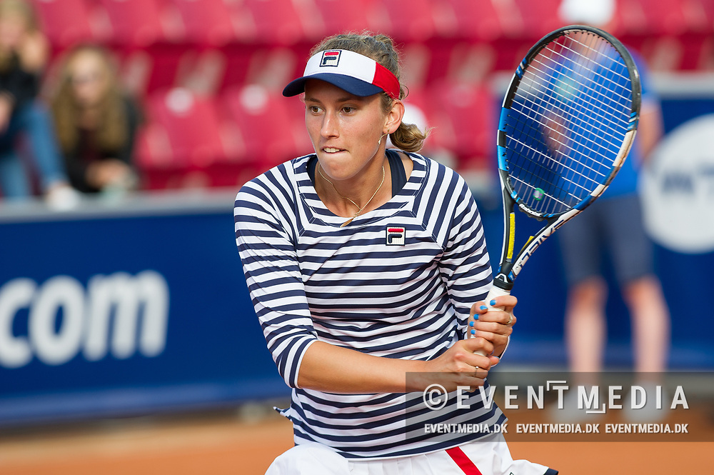 Elise Mertens (Belgium)  at the 2017 WTA Ericsson Open in Båstad, Sweden, July 29, 2017. Photo Credit: Katja Boll/EVENTMEDIA.