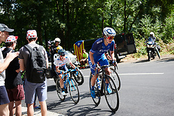 Leah Thomas (USA) leads the break into the mountains at La Course by Le Tour de France 2018, a 112.5 km road race from Annecy to Le Grand Bornand, France on July 17, 2018. Photo by Sean Robinson/velofocus.com