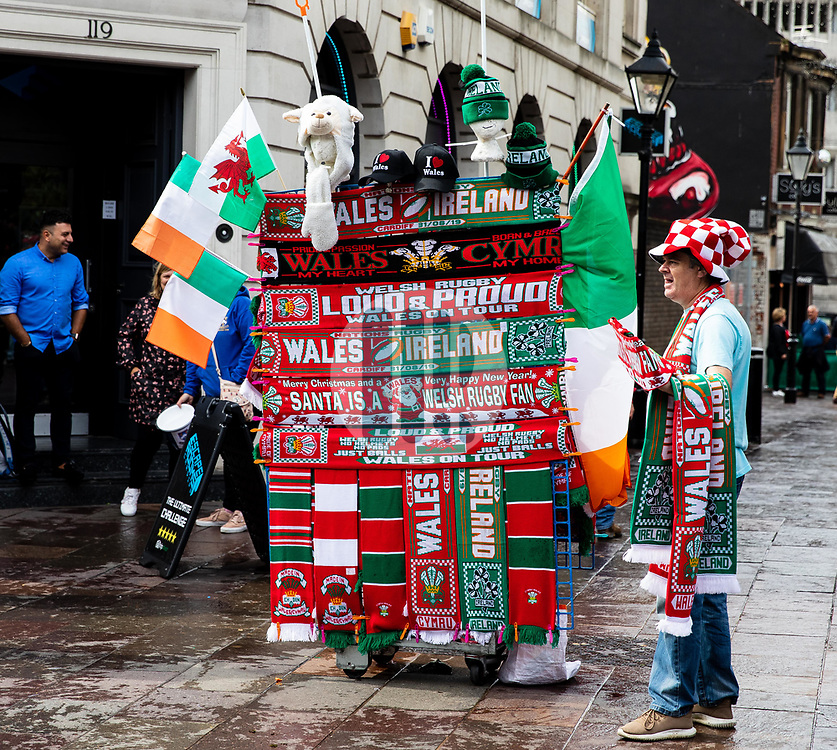 A street vendor selling scarves<br /> <br /> Photographer Simon King/Replay Images<br /> <br /> Friendly - Wales v Ireland - Saturday 31st August 2019 - Principality Stadium - Cardiff<br /> <br /> World Copyright © Replay Images . All rights reserved. info@replayimages.co.uk - http://replayimages.co.uk