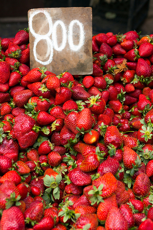 TETOUAN, MOROCCO - 5th April 2016 - Fresh seasonal strawberries for sale at the Tetouan food market, Tetouan medina, Rif region of Northern Morocco.