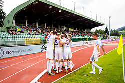 NK Maribor players celebrate during football match between NK Rudar Velenje and Maribor in 1st Round of Prva liga Telekom Slovenije 2018/19, on July 22, 2018 in Mestni stadion ob Jezeru, Velenje , Slovenia. Photo by Ziga Zupan / Sportida