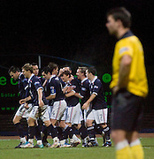 Dundee's Nicky Riley is congratulated after scoring Dundee's third goal - Dundee v Livingston, IRN BRU Scottish Football League, First Division at Dens Park - ..© David Young - .5 Foundry Place - .Monifieth - .Angus - .DD5 4BB - .Tel: 07765 252616 - .email: davidyoungphoto@gmail.com.web: www.davidyoungphoto.co.uk