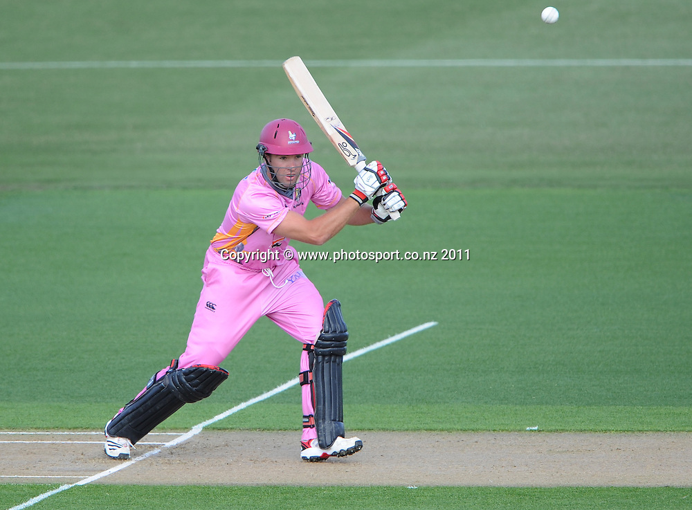 Northern's Brad Wilson batting during the HRV Twenty20 Cricket match between the Auckland Aces and Northern Knights at Colin Maiden Oval in Auckland on Monday 26 December 2011. Photo: Andrew Cornaga/Photosport.co.nz
