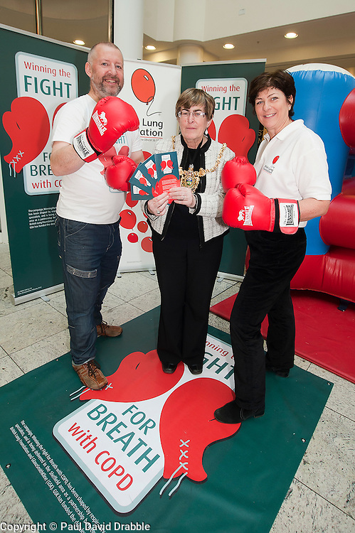 "Dr Rod Lawson Consultant in Respiratory Medicine at Sheffield Teaching Hospitals, Lord Mayor of Sheffield Councillor Dr Sylvia Dunkley & British Lung Foundation Support & Development Manager help to launch of the ""Winning The Fight For Breath  with COPD Campaign"" in Meadowhall Shopping Centre Sheffield on Saturday 18th February 2012..www.pauldaviddrabble.co.uk..18th February 2012 -  Image © Paul David Drabble"