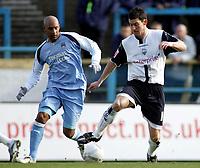 Photo: Paul Thomas.<br />Preston North End v Manchester City. The FA Cup. 18/02/2007.<br /><br />Preston's David Nugent (R) takes on Ousmane Dabo.