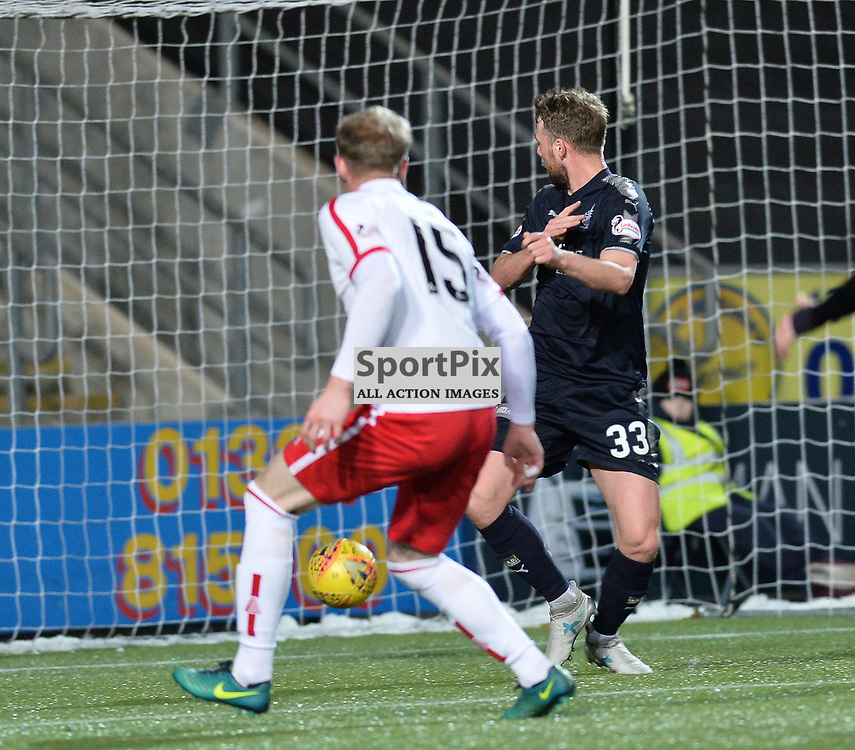 Rory Loy (Falkirk) scores Falkirk's second goal during the Scottish Championship match between Falkirk and Brechin City at the Falkirk Stadium.<br /> <br /> (c) Dave Johnston | SportPix.org.uk
