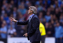 02.10.2013 Manchester, England.  Man City Manager Mario Pellegrini during the Group D UEFA Champions League game between, Manchester City and Bayern Munich from the Etihad Stadium.