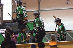 Rok Leber, Jaka Zdesar and Aljaz Uduc of Olimpija during ice hockey match between HDD Telemach Olimpija and HDD SIJ Acroni Jesenice at Winter Classic of HDD Telemach Olimpija called Pivovarna Union Ice Fest 2014, on December 18, 2014 on Republic Square, Ljubljana, Slovenia. (Photo By Matic Klansek Velej / Sportida.com)