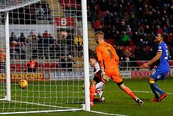 David Ball of Rotherham United heads the ball to score an injury time goal - Mandatory by-line: Ryan Crockett/JMP - 03/02/2018 - FOOTBALL - Aesseal New York Stadium - Rotherham, England - Rotherham United v AFC Wimbledon - Sky Bet League One