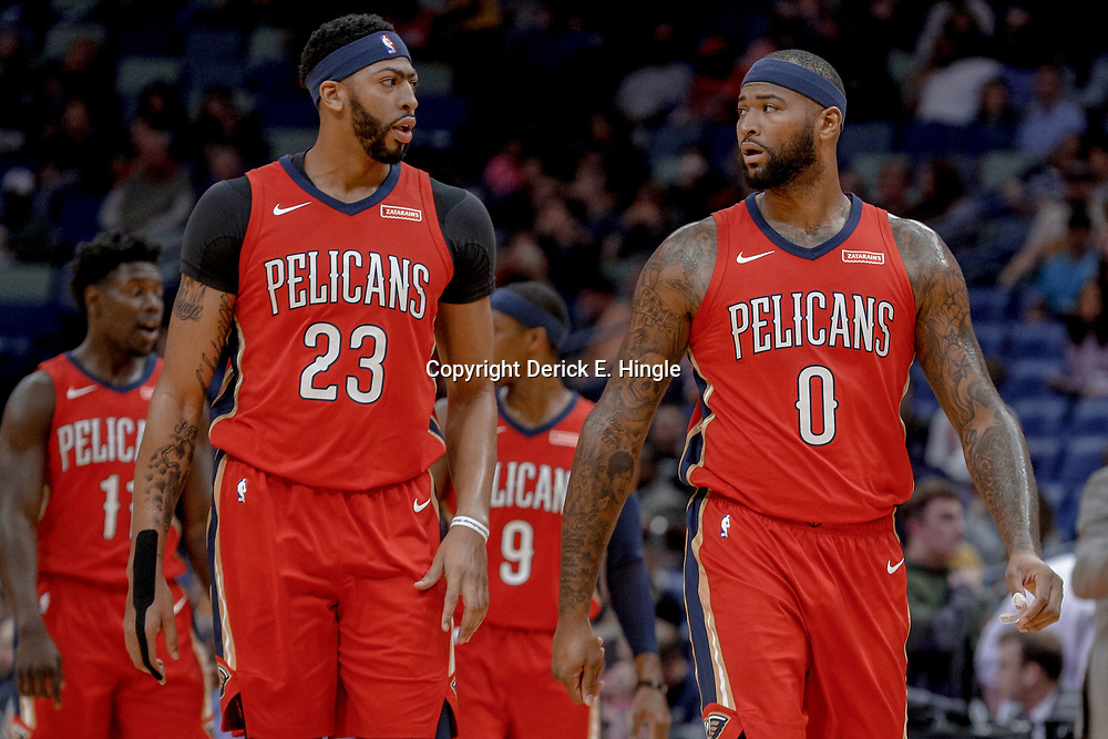 Nov 29, 2017; New Orleans, LA, USA; New Orleans Pelicans forward Anthony Davis (23) and center DeMarcus Cousins (0) Minnesota Timberwolves during the first quarter of a game at the Smoothie King Center. Mandatory Credit: Derick E. Hingle-USA TODAY Sports