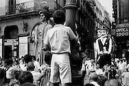 Cabezudos festival in Barcelona, Spain, 1989