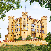 Castle Hohenschwangau in the Bavarian Alps (Germany) near the Austrian border. The 19th century palace was the childhood residence of King Ludwig II and was built by his father, King Maximilian II of Bavaria.