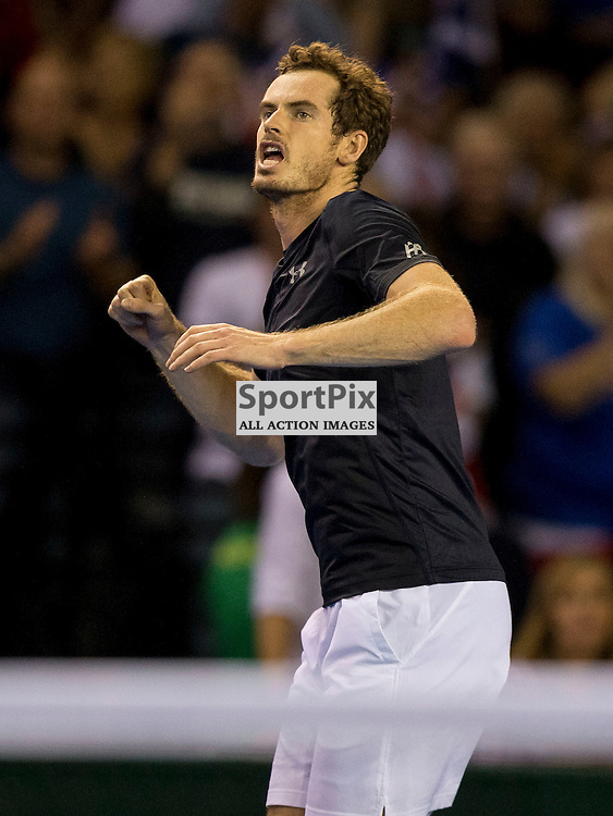 Davis Cup semi-final: Great Britain v Australia<br /> <br /> Andy Murray celebrates win over Thanasi Kokkinakis after Friday's opening singles Match.<br /> <br /> Picture: Alan Rennie