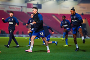 AFC Wimbledon midfielder Callum Reilly (33) warming up during the The FA Cup match between Doncaster Rovers and AFC Wimbledon at the Keepmoat Stadium, Doncaster, England on 19 November 2019.