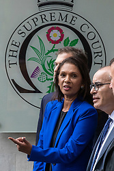 © Licensed to London News Pictures. 24/09/2019. London, UK. Gina Miller outside the Supreme Court in London after judges ruled that Prime Minister Boris Johnson's suspension of Parliament was unlawful. Photo credit: Rob Pinney/LNP