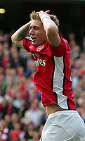 Arsenal FC vs Blackburn Rovers FC Premiership  04/10/09<br /> Photo Nicky Hayes Fotosports International<br /> Arsenal striker Nicklas Bendtner in despair.