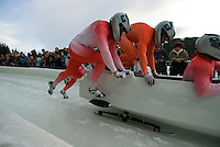 The Polish team of Dawid Kupczyk, Marcin Piotr Niewarar, Pawel Mroz, and Marcin Andrej Placheta compete in the Mens' four-person bobsleigh World Cup competition held at the Whistler Sliding Centre on Feb 7, 2009