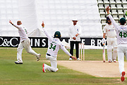 WICKET - Callum Parkinson traps George Balderson LBW before the Bob Willis Trophy match between Lancashire County Cricket Club and Leicestershire County Cricket Club at Blackfinch New Road, Worcester, United Kingdom on 4 August 2020.