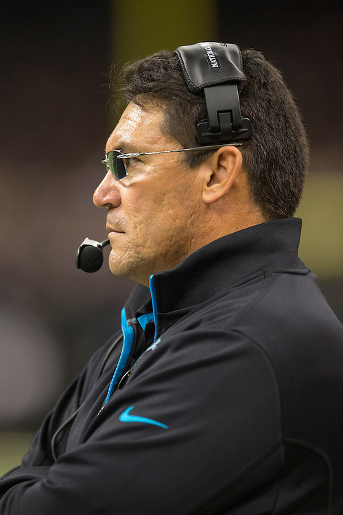 NEW ORLEANS, LA - DECEMBER 30:  Head Coach Ron Rivera of the Carolina Panthers on the sidelines during a game against the New Orleans Saints at Mercedes-Benz Superdome on December 30, 2012 in New Orleans, Louisiana.  The Panthers defeated the Saints 44-38.  (Photo by Wesley Hitt/Getty Images) *** Local Caption *** Ron Rivera