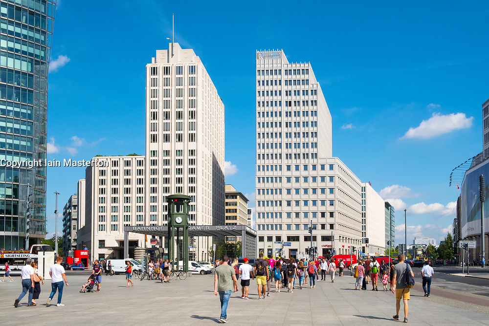 View of busy square at Potsdamer Platz business and entertainment district in Berlin, Germany