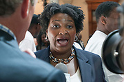 House Minority Leader Stacey Abrams speaks to reporters about the press conference she just held regarding the voter fraud investigation.<br /> <br /> http://clatl.com/freshloaf/archives/2014/09/18/voter-fraud-investigation-sparks-outrage-from-minority-leaders