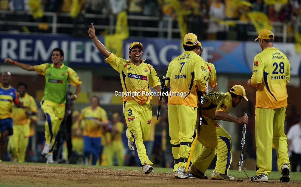 Chennai Super Kings are the champions, Indian Premier League twenty20 cricket final, Mumbai Indians v Chennai Super Kings, 26 April 2010.