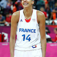 07 August 2012: France Emmeline Ndongue celebrates following the 71-68 Team France victory over Team Czech Republic, during the women's basketball quarter-finals, at the Basketball Arena, in London, Great Britain.